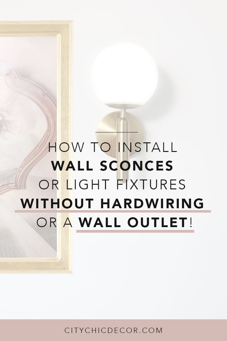 Want a wall sconce or light fixture with no wiring? Can't hardwire your light? Want a plug-in wall sconce or light but don't have an outlet nearby? You can transform your rental kitchen, bathroom, living room or bedroom with this lighting hack where you can install the wall scone of your dreams without electricity, hardwiring or an outlet. Read the easy instructions here! #wallsconces #wallsconcesnowiring #wallsconcesnothardwired #lightnoelectricty