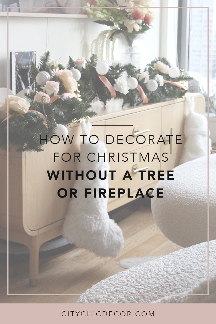 Learn how to decorate your home for the holidays/ for Christmas without having a tree or fireplace. #Christmasdecorations #christmasdecordiy #christmasdecor #holidaydecor #holidaywreaths