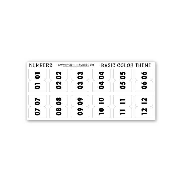 Mini Basic Numbers planner tabs