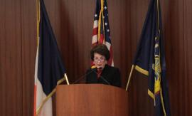 Judge Judith S. Kaye delivering her speech at the 111th City Law Breakfast. Photo Credit: Meghan Lalonde.