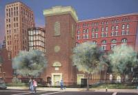 Rendering of Church of St. Francis in the Fields' proposed residential tower and campus addition. Image credit: ABA Studio.