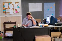 """In """"The Believers"""", Chris Connor (Taylor Anthony Miller) begins a long day at the campaign office. (Image Credit: The Storm Theatre Company)"""