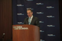 New York Attorney General Eric Schneiderman speaking at New York Law School, March 18, 2014. Image credit: CityLaw
