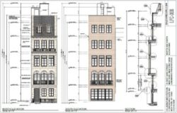 Architect's elevation study of front and rear facades of proposed townhouse. Image credit: LPC
