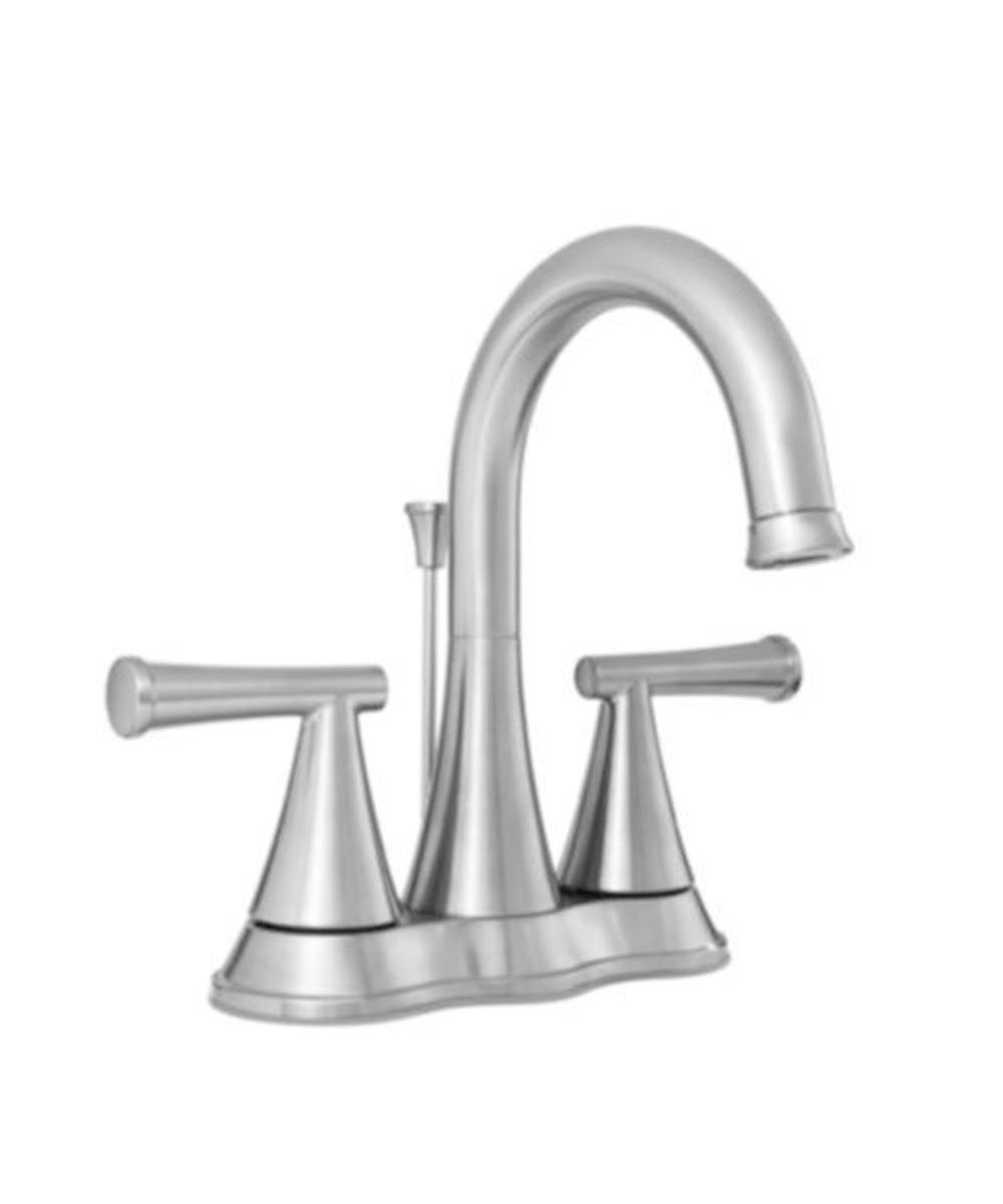proflo 1 2 gpm 3 hole 4 in centerset double lever handle bathroom faucet with brass pop up drain assembly brushed nickel