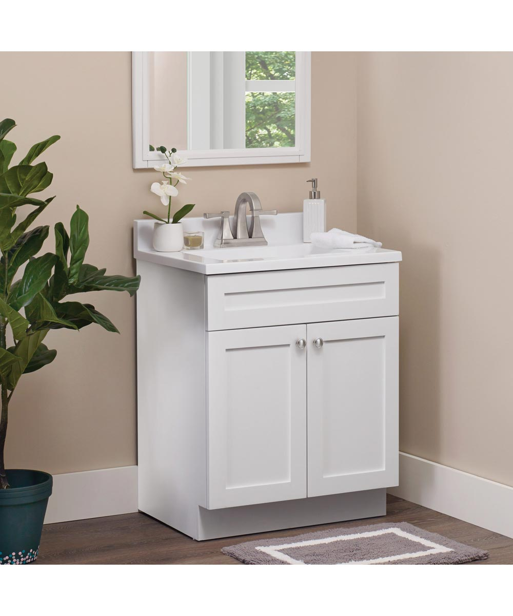 foremost 24 in x 18 in cason bathroom vanity with cultured marble top flat white