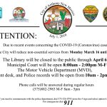 Temporary Hours For City Services