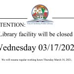 Library Closed Wednesday 03/17/2021