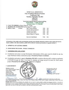 Board of Trustees (BOT) Special Meeting Consideration and Action to Accept Development Administration  (EDA) Grant Award $1,500,000 for the Dos Lagos Healthcare Facility Construction Project. @ City Municipal Complex
