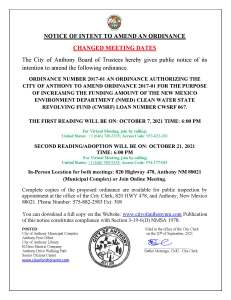 Notice Of Intent to Amend an Ordinance, an Ordinance  Authorizing  the City of Anthony to Amend Ordinance 2017-01 for the purpose of Increasing the Funding Amount of the New Mexico Environment Department (NMED) Clean  Water State Revolving Fund (CWSRF) Loan  Number CWSRF 067. @ City Municipal Complex