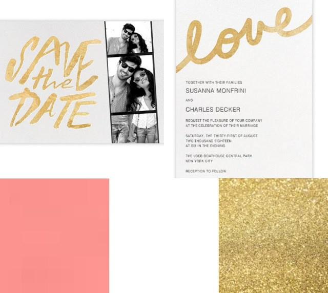 coral, gold, white wedding scheme