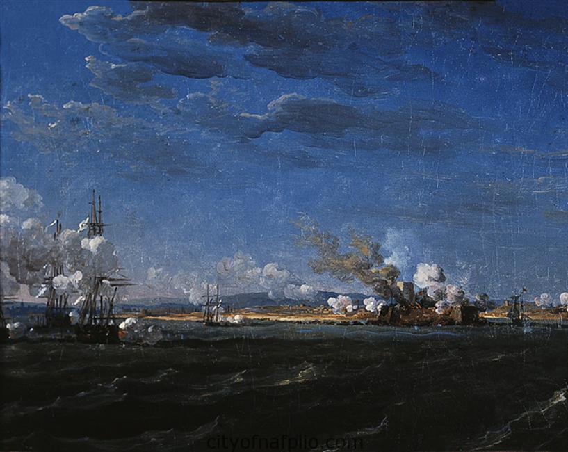 Η ναυμαχία του Ναυπλίου, μετά το 1822 Λάδι σε μουσαμά , 26 x 36,5 εκ. Αρ. έργου: Π.10511