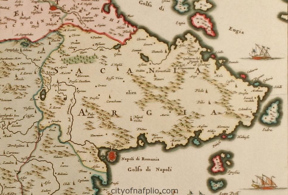 Coloured map of the Peloponnese. Printed in Amsterdam circa 1690_argolis_Nicolas Visscher