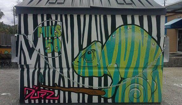 Mills 50 dumpster art