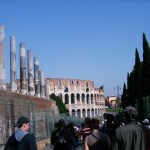 walking up to the Colosseum