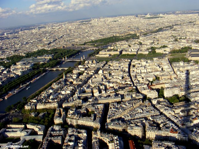 streets of Paris from above