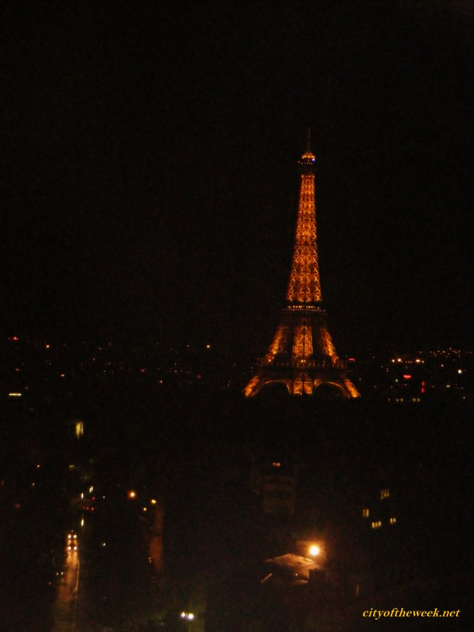 Eiffel stands out in the darkness