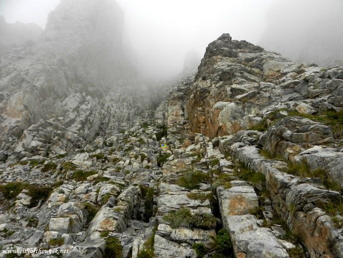 descendin from Mytikas..creepy, extremely steep & slippery