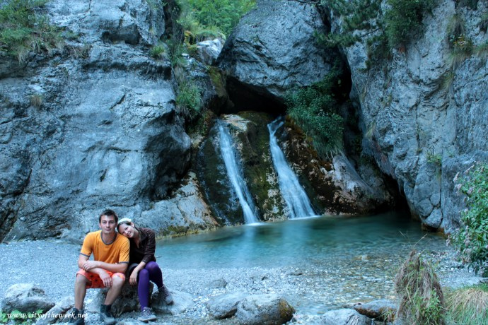 at Zeus's waterfall where he bathed with the nimfas..sitting with trembling legs because of exhaustion