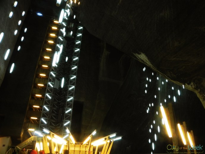 the elevator at Turda Salt Mine