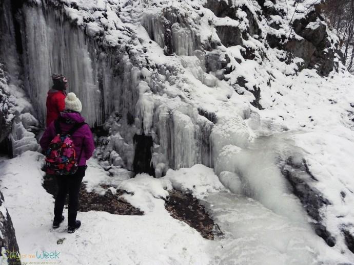 frozen waterfall in Turda Gorge