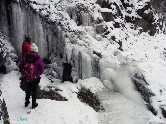 frozen waterfall in Turda Gorge