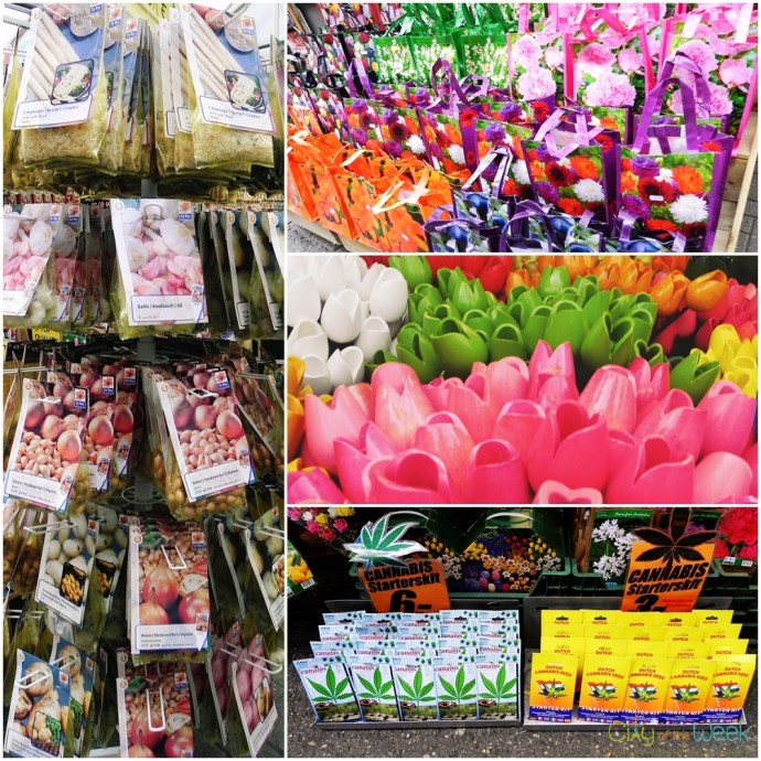 Marijuana seeds and Wooden Tulips at the Flower Market