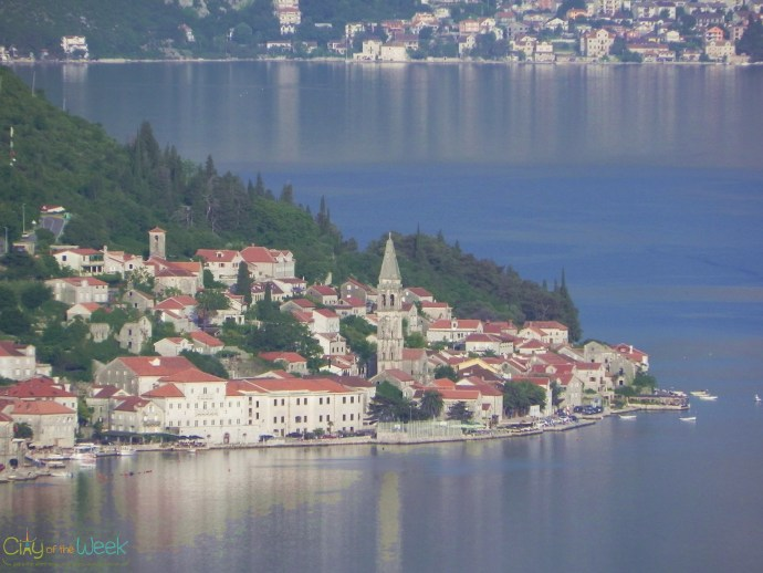 Perast from the highway with 20x zoom