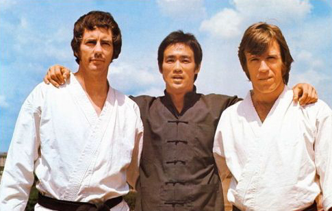"""Bob Wall with Bruce Lee and Chuck Norris on the set of """"Way of the Dragon"""""""