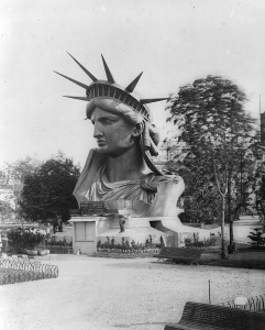The Statue of Liberty's head, on exhibit at the Paris Exposition of 1878. Courtesy of The New York Public Library.