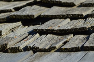 wood shingles on a roof