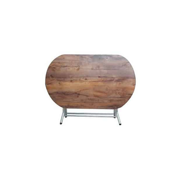 table pliante ovale melamine noyer 138 84 cm