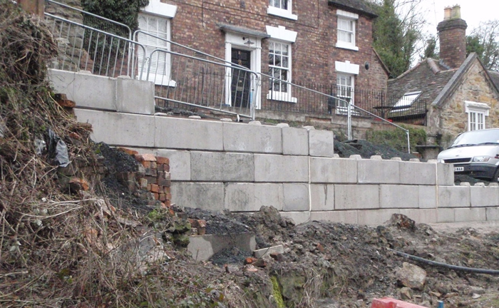 construction retaining wall made from concrete blocks