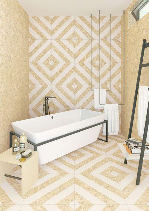 déco revêtement salle de bains en osb peint motifs