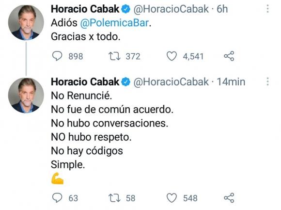 """Horacio Cabak aclaró su salida de Polémica en el bar: """"No renuncié, no fue de común acuerdo y no hubo respeto"""""""