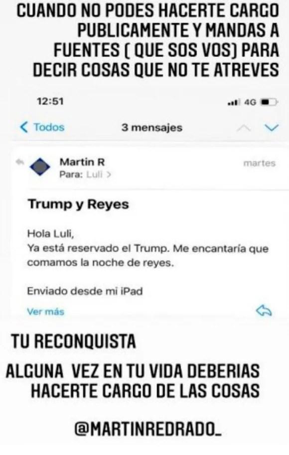 """Luciana Salazar mostró un mail privado que le envió Martín Redrado y lo acusó: """"Alguna vez deberías hacerte cargo de las cosas"""""""