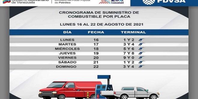 Así funcionará el cronograma de suministro de combustible desde el lunes 16 al 22 de agosto