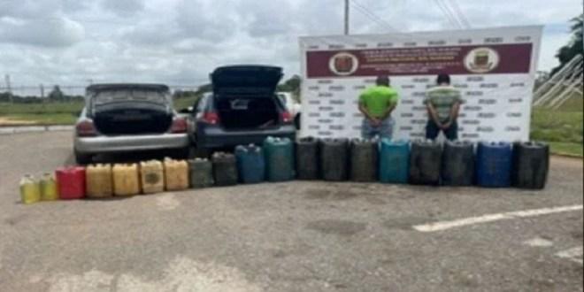 Detenida dos personas por tráfico ilícito de 800 litros de combustible en Anzoátegui
