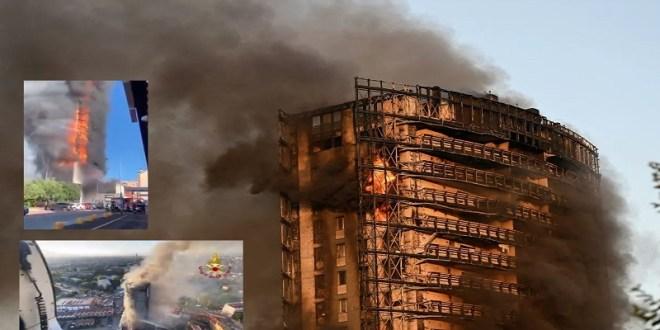 ITALIA   Un gran incendio devora rascacielos residencial en Milán