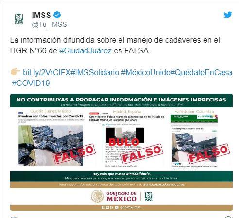 IMSS sobre noticia falsa