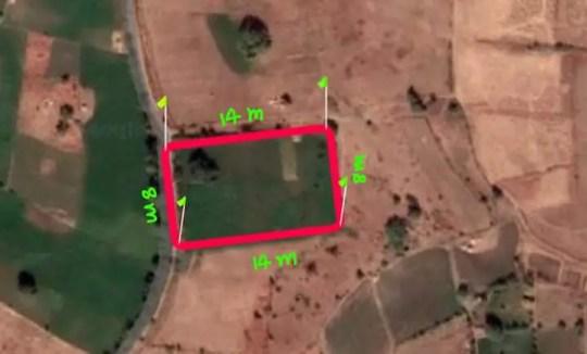 calculate area of rectangular land