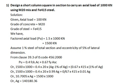 Complete RCC column design Guide - Numerical Example as per IS Code