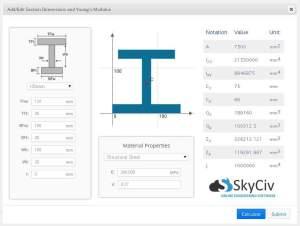 Beam Section SkyCiv Truss Frame Software