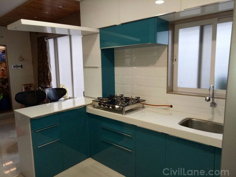 Backpainted glass finish modular kitchen civillane for Civil kitchen designs