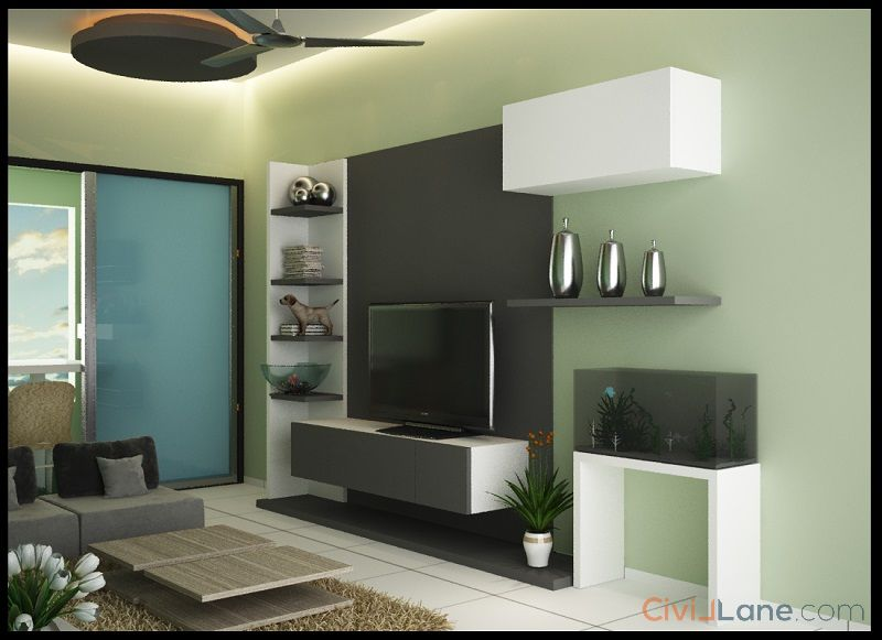 2BHK Living Room TV Unit Design