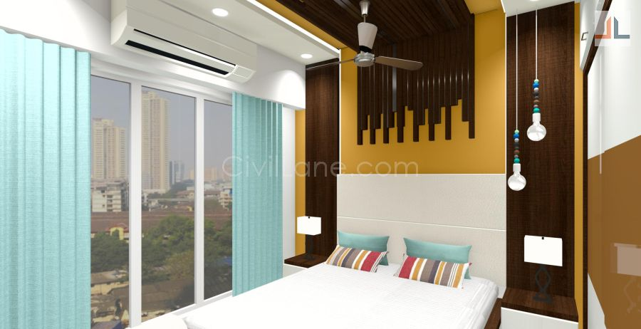 Bed Furniture Design With Wooden Rafter Ceiling