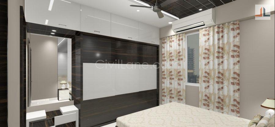Sliding Wardrobe Furniture Design With Overhead Storage Laminate Finish