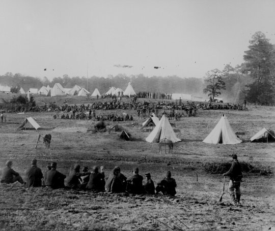civil war Union soldiers guarding Confederate prisoners, Shenandoah Valley, 1862
