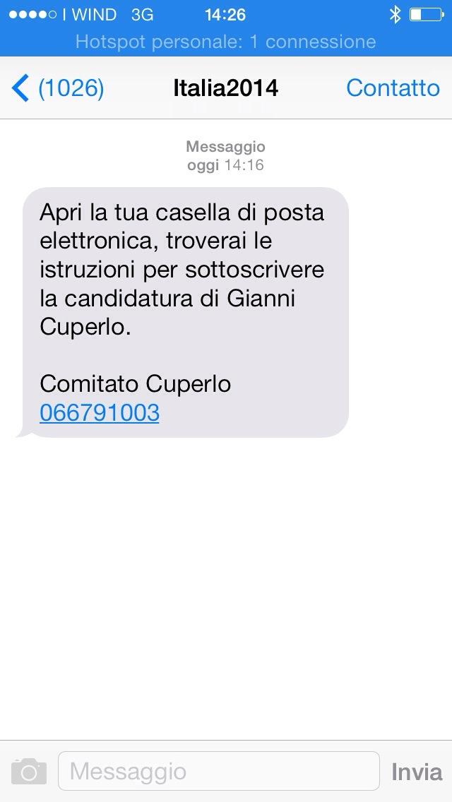 Sms di Cuperlo a Civati