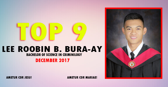 Lee Roobin Bura-ay bags 9th spot in December 2017 Criminology Licensure Exams